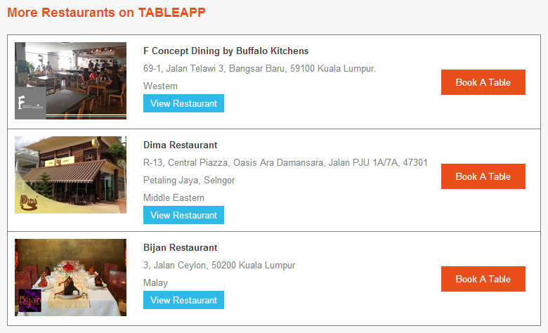 TABLEAPP bring you more recommended restaurants with your reservation mail!