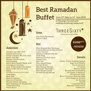 Click here to view Three Sixty Revolving Restaurant & Bar's Ramadan Menu