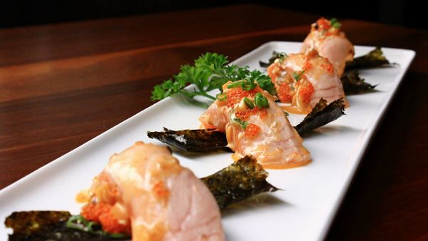 Click Here To View Seared Salmon Nigiri (4 Pieces) at PLOY Damansara Heights