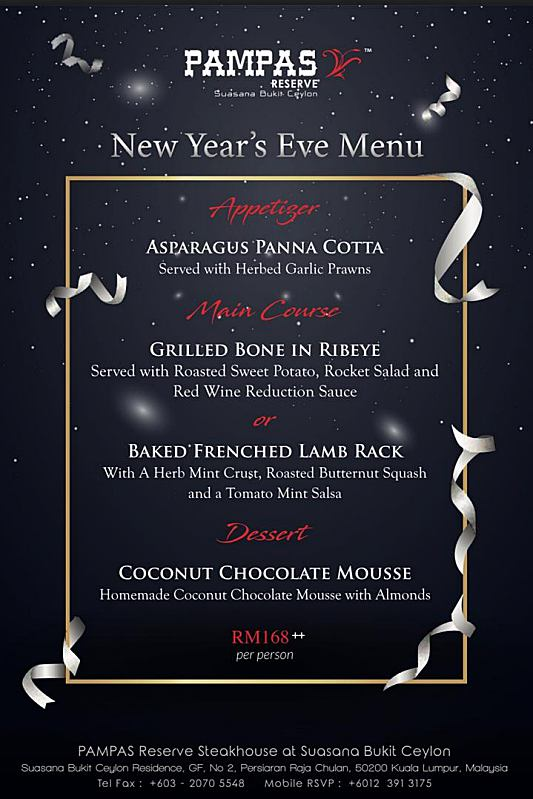 Click here to view New Year's Eve menu at Pampas Reserve