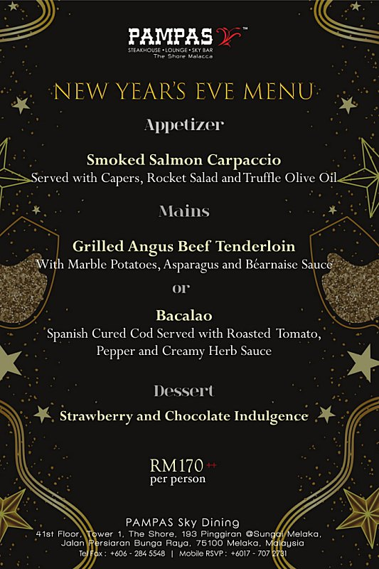 Click here to view Pampas Sky Dining New Year's Eve Menu