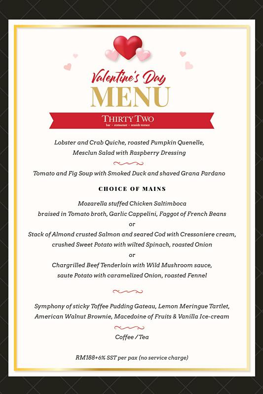 Click here to view Valentine's Menu at 32 at The Mansion