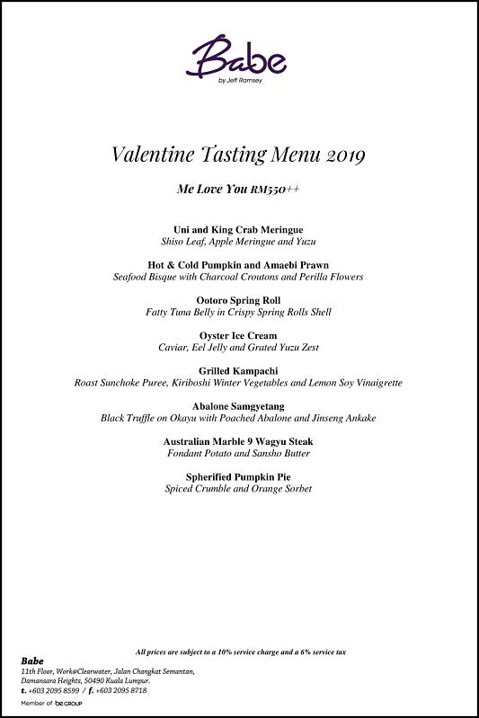 Click here to view Valentine's Menu at Babe