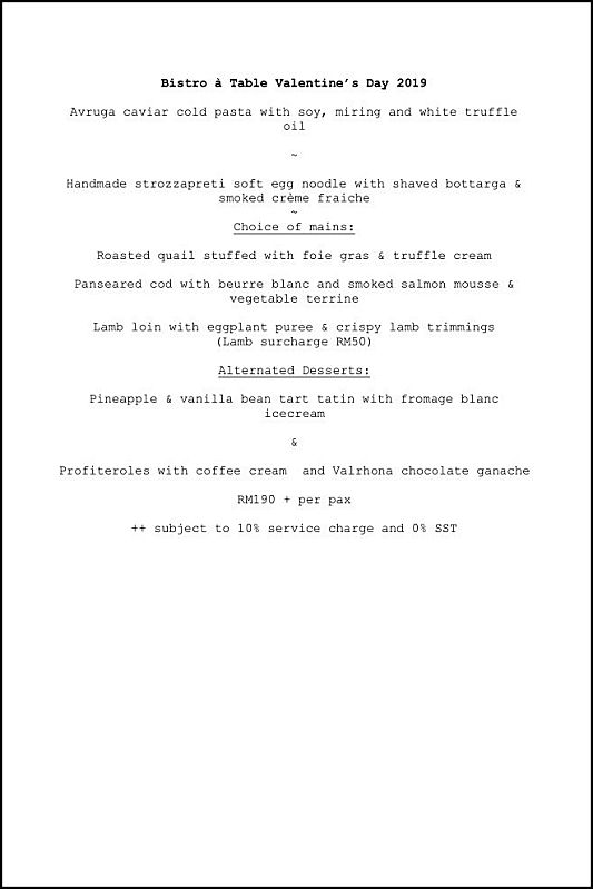 Click here to view Valentine's Day Menu at Bistro a Table