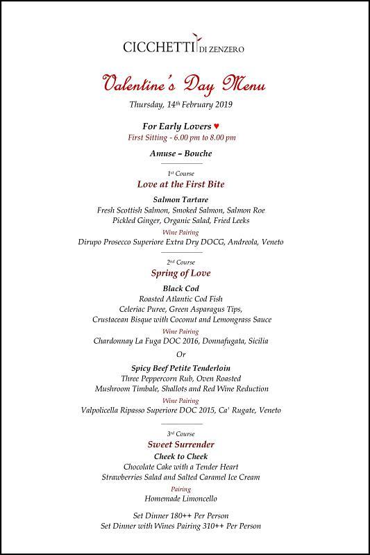 Click here to view Cicchetti Di Zenzero's Valentine's Menu