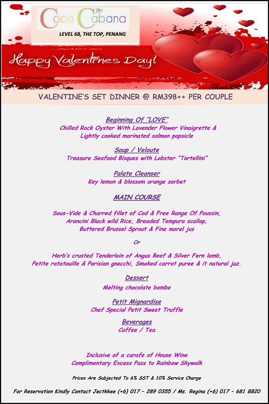 Click here to view Valentine's Day menu at Coco Cabana