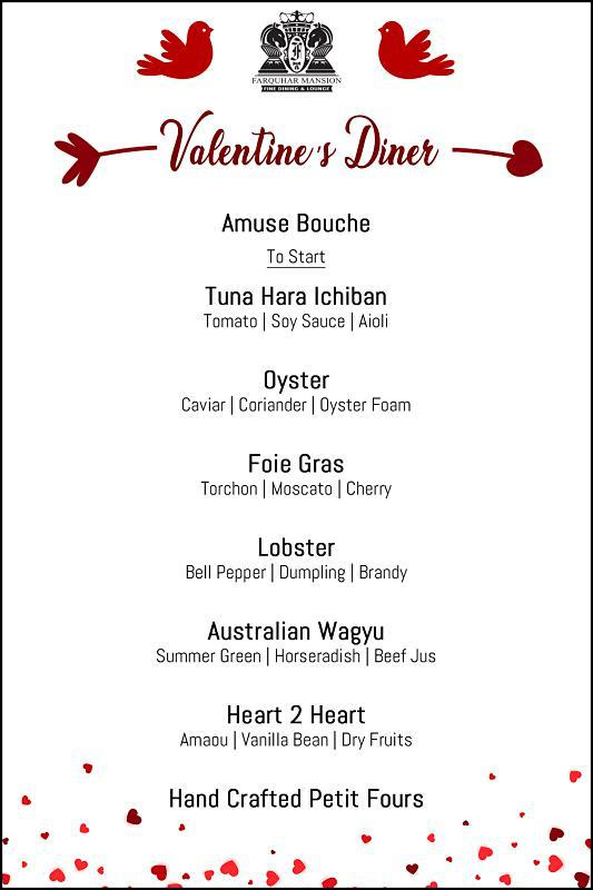 Click here to view Valentine's Menu at Farquhar Mansion