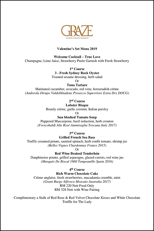 Click here to view Graze Valentine's Menu