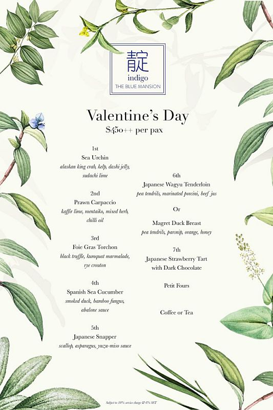 Click here to view Valentine's Day Menu at Indigo