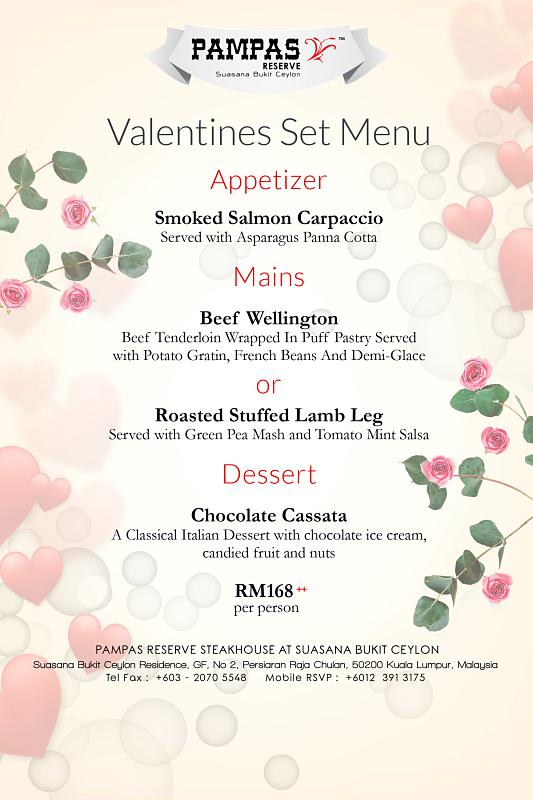 Click here to view Valentine's Menu at PAMPAS Reserve