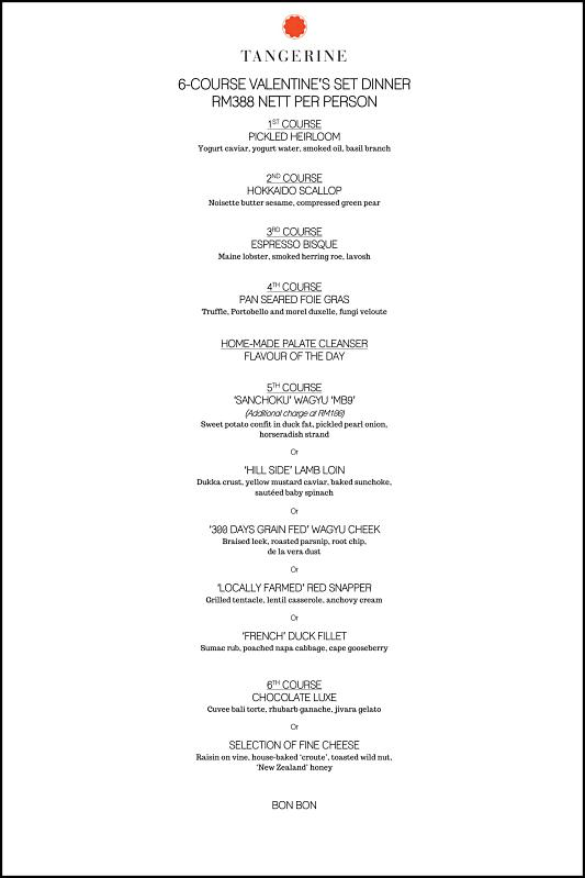 Click here to view Tangerine's Valentine's Menu