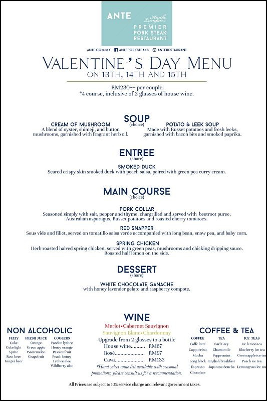 Click here to view ANTE's Valentine's menu