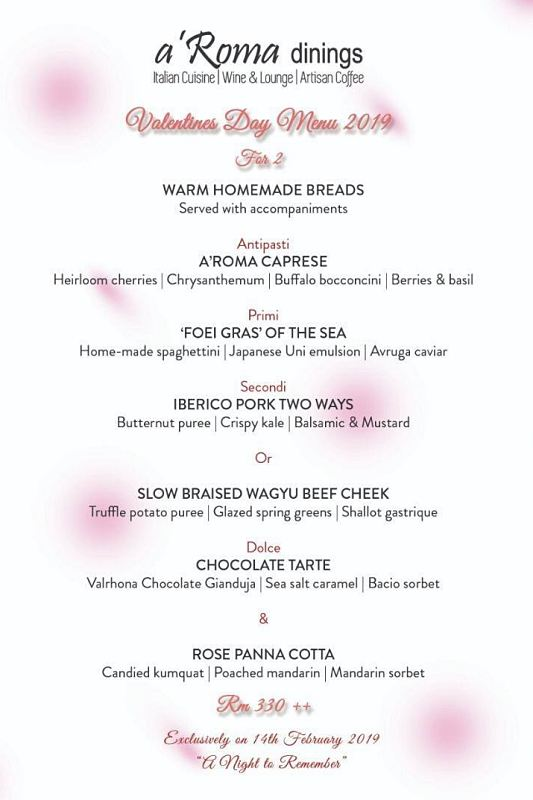View Valentine's Menu at A'Roma Dinings
