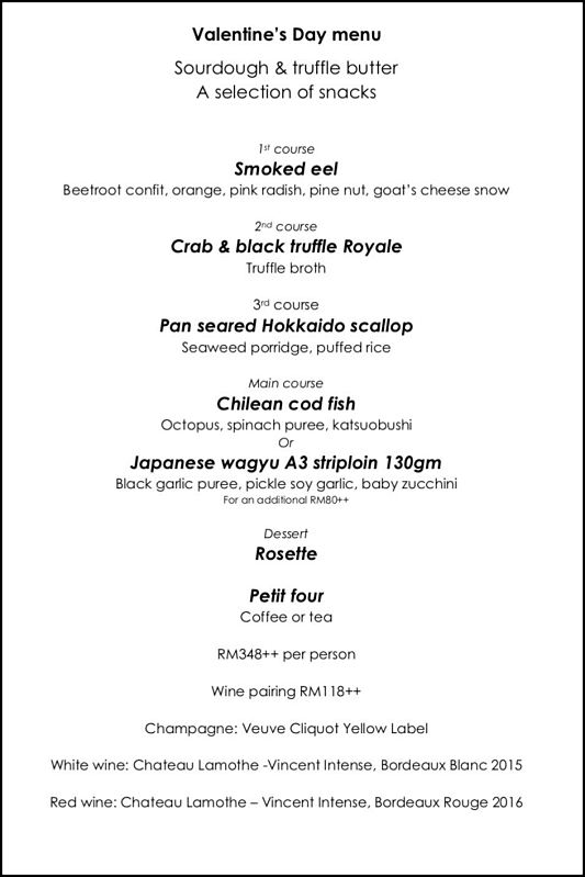 Click here to view Valentine's menu at BEAST