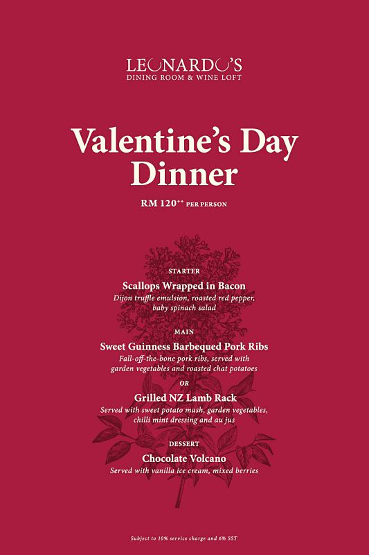 Click here to view Valentine's Menu at Leonardo's Dining Room