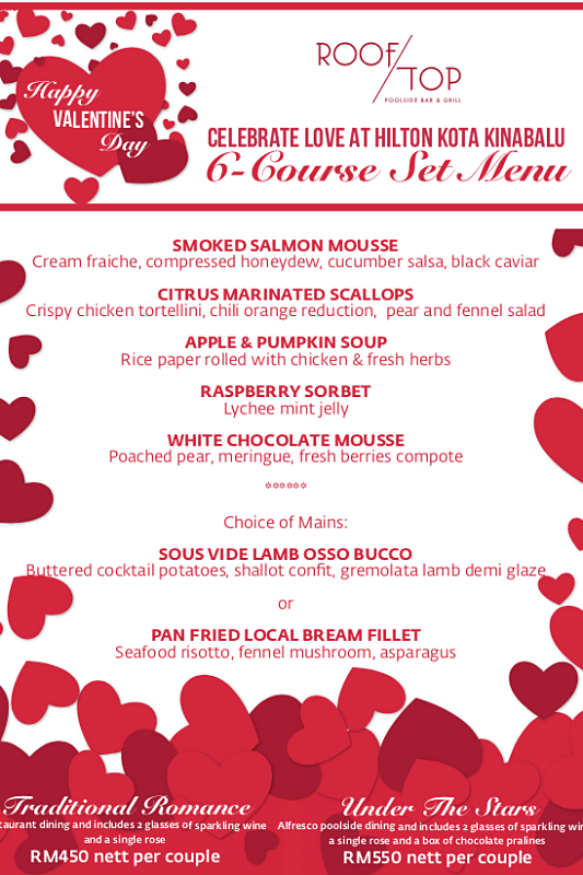 Click here to view Valentine's Menu at Rooftop Poolside Bar & Grill