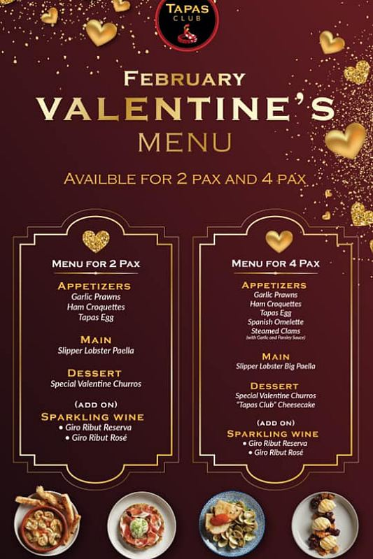 Click here to view Valentine's Menu at Tapas Club Pavilion