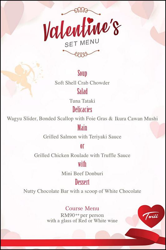 Click here to view Valentine's Menu at Torii