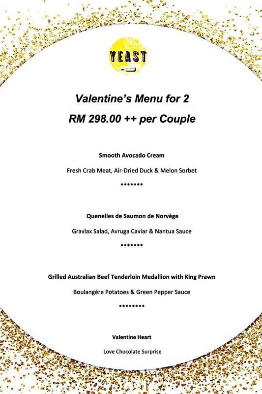 Click here to view Valentine's Menu at Yeast Bangsar