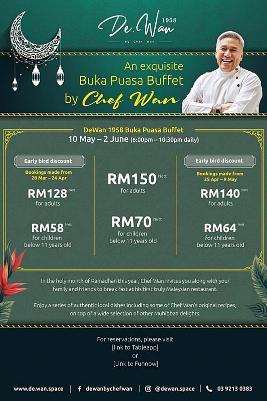 Click here to view Buka Puasa Menu at De.Wan 1958 by Chef Wan