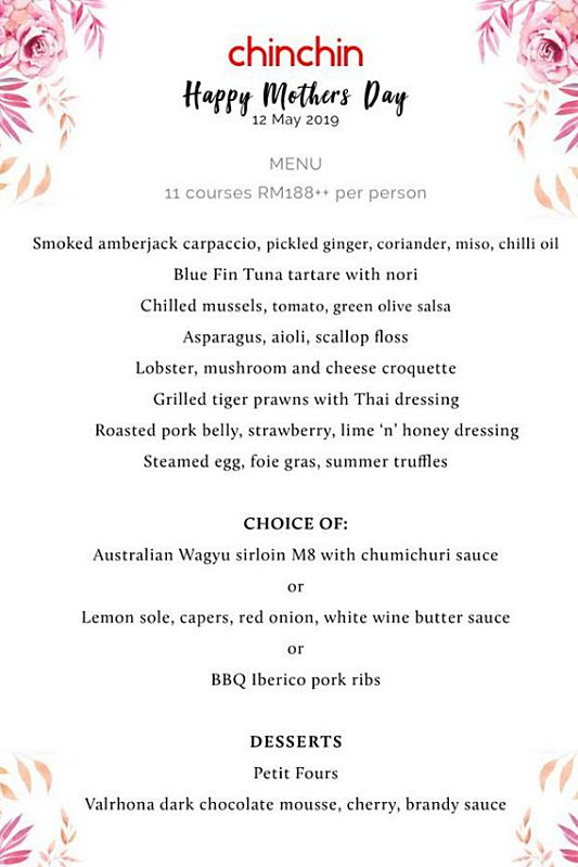 View Mother's Day Menu at Chin Chin Gastropub