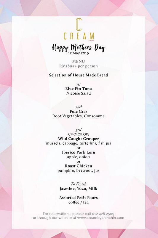 View Mother's Day Menu at CREAM by Chin Chin