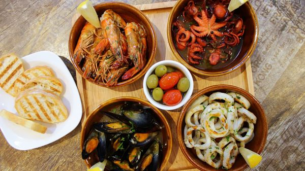 View El Iberico Grilled Seafood Tapas Platter