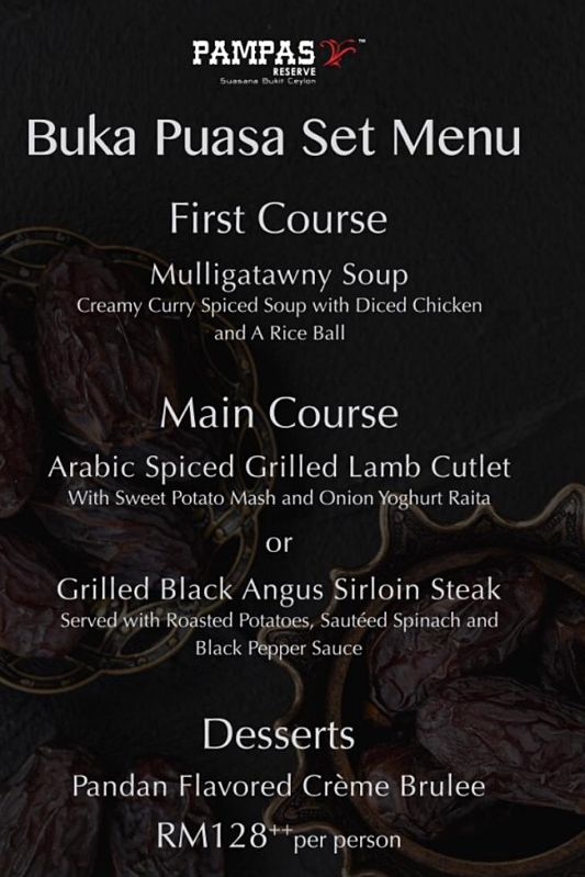 Click here to view Ramadan Menu at Pampas Reserve