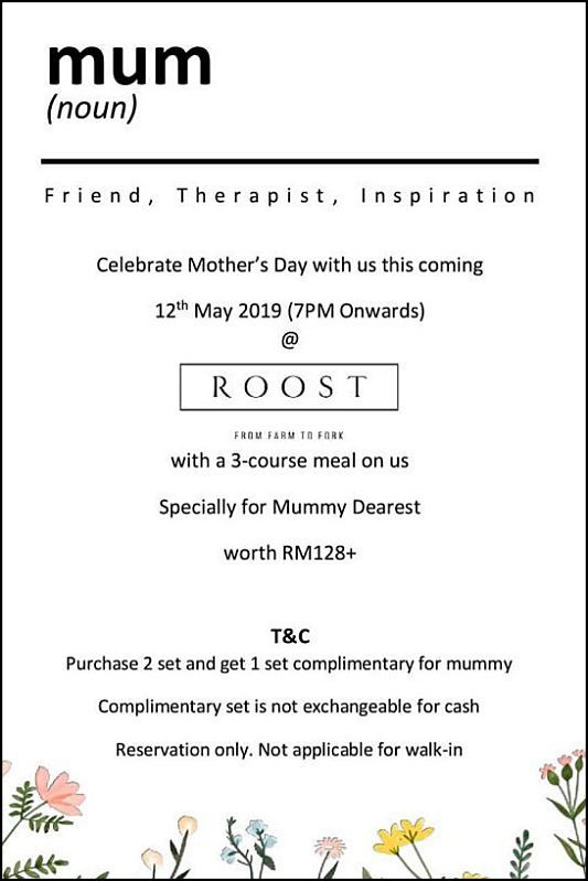 Click here to view Mother's Day Menu at ROOST