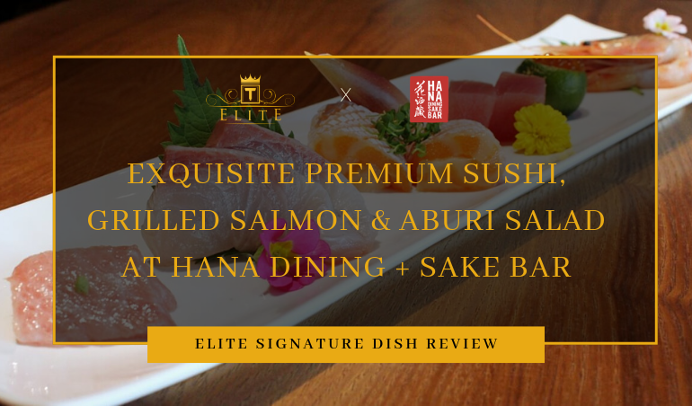 View Premium Sushi Grilled Salmon, Aburi Salad, Premium Sushi and More at Hana Dining + Sake Bar