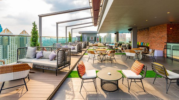 View Top Drinks and Coffee in KL at Rooftop 25 at Hilton Garden Inn