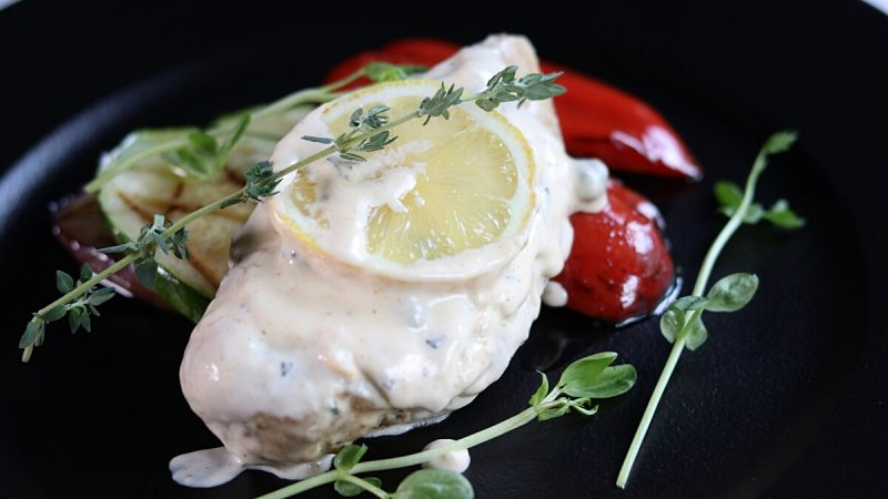 View Herb Chicken Breast in Creamy Lemon Sauce at Pampas Steakhouse at Old Malaya