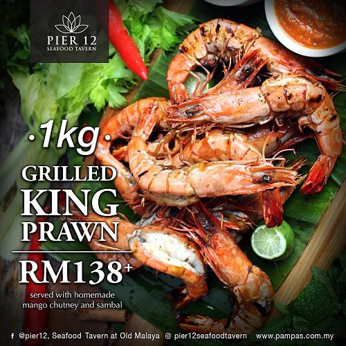 View Grilled King Prawns at Pier 12 Seafood Tavern