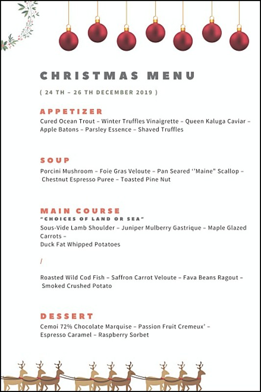 View Christmas Menu at Two Ox French Bistro Bar