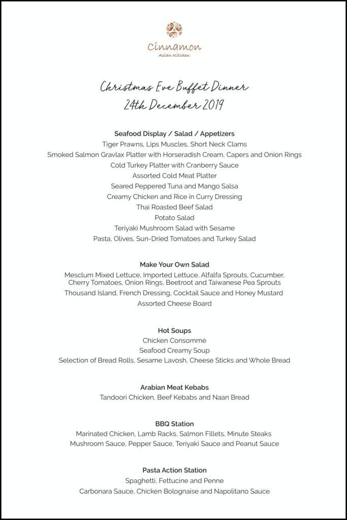 View Christmas Eve Menu at Cinnamon Asian Kitchen