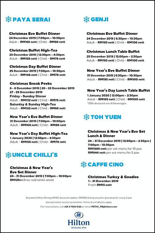 View New Year's Menu at Hilton Petaling Jaya