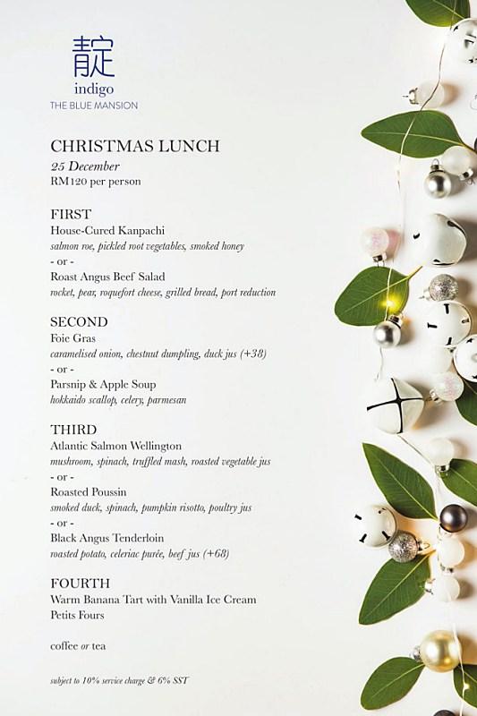 View Christmas Day Lunch Menu at Indigo