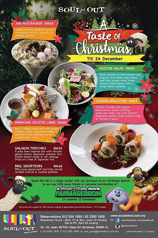 View Special Christmas Menu at Souled Out Sri Hartamas