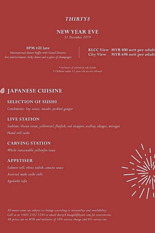 View New Year's Eve Menu at THIRTY8
