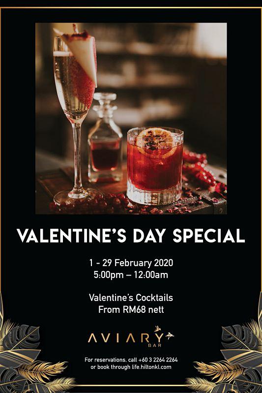 View Valentine's Menu at Aviary Bar @ Hilton Kuala Lumpur