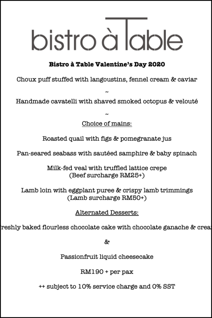 View Valentine's Day at Bistro a Table