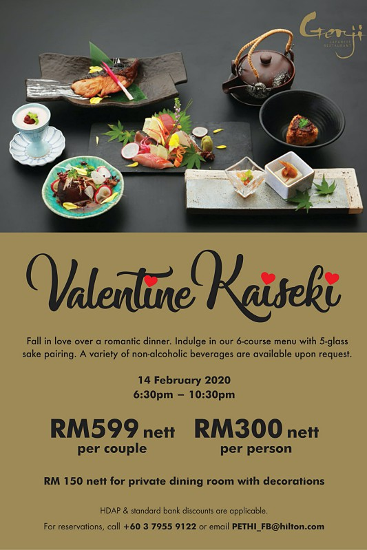 View Valentine's Menu at Genji @ Hilton Petaling Jaya