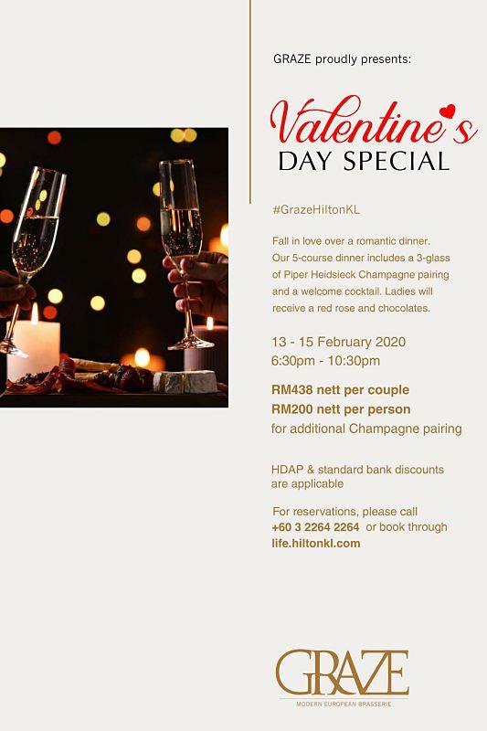 View Valentine's Menu at Graze @ Hilton Kuala Lumpur