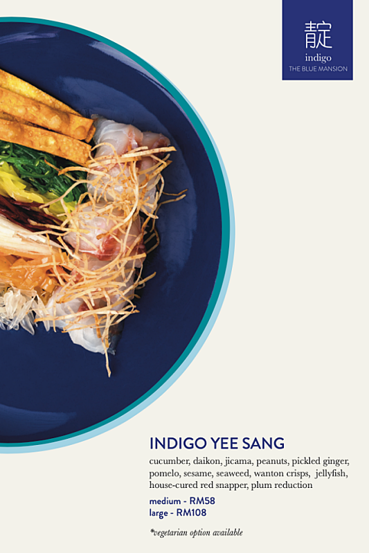 View CNY Menu at Indigo @ The Blue Mansion