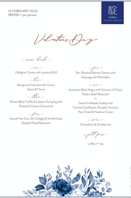 View Valentine's Menu at Indigo