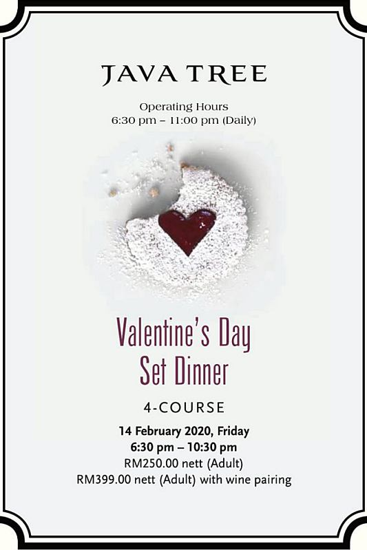 View Valentine's Menu at enfin by Java Tree