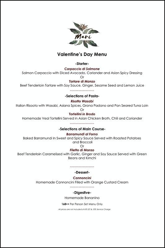 View Valentine's Menu at Mari Ristorante & Bar