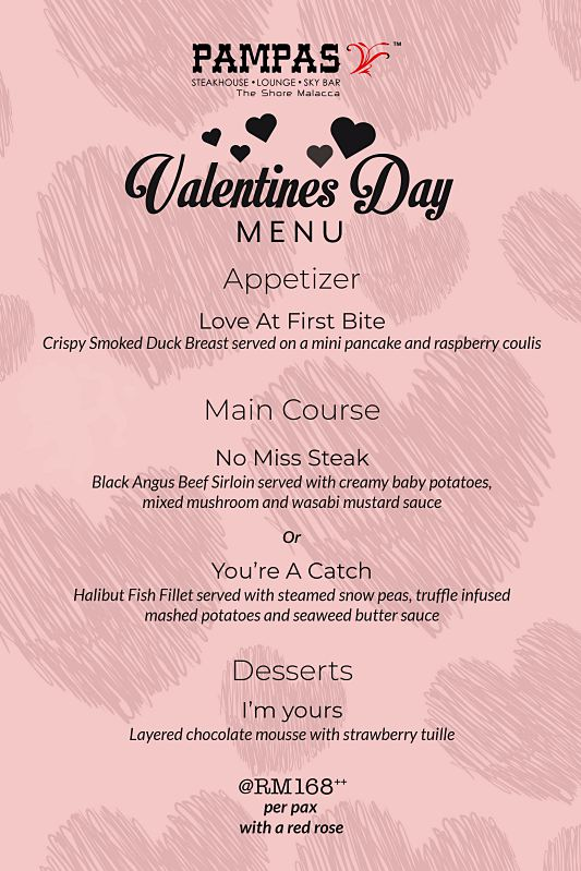View Valentine's Menu at Pampas Sky Dining