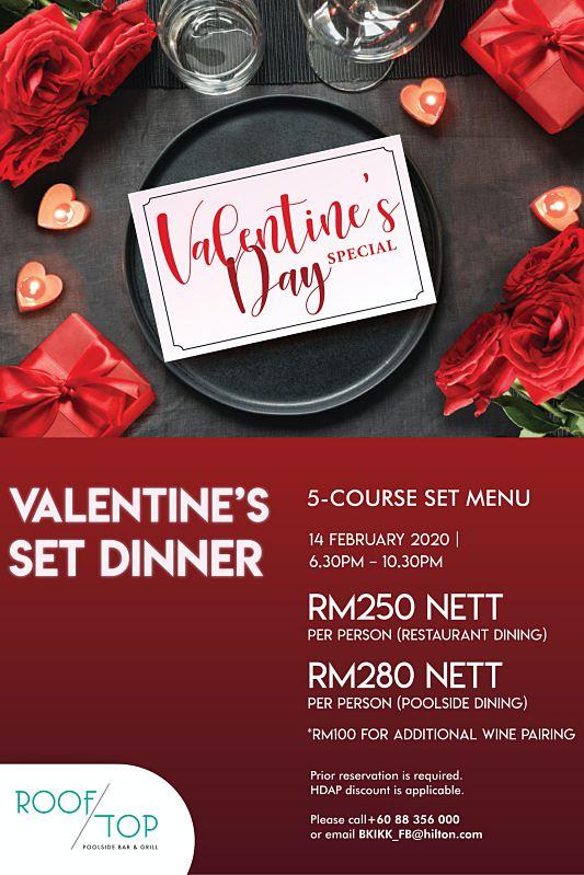 View Valentine's Menu at Rooftop Poolside Hilton Kota Kinabalu