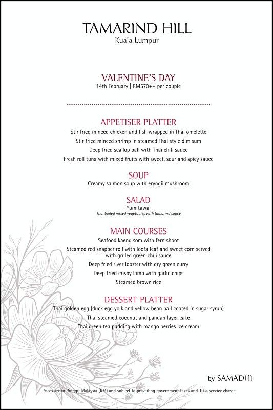 View Valentine's Menu at Tamarind Hill KL